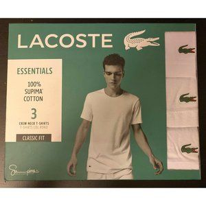 New Mens Lacoste White 3 Pack Classic Fit T-Shirts